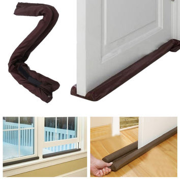 Twin Door Draft Dodger Guard Stopper Energy Saving Protector Dustproof Doorstop Home