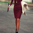 Wine Red V-Neck Long Sleeve Knee-Lenght Dress