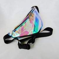 Clear Rainbow Hologram Fanny Pack | edc nocturnal wonderland rave music festival bag EDM Burning Man Festival Apparel waist pack