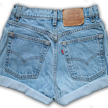 Vintage 90s Levi's Light/Medium Blue Wash High Waisted Rise Cut Offs Cuffed Rolled Jean Denim Shorts – Size 27