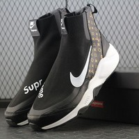 Best Online Sale LV x Supreme x Nike Air Huarache Socks Mid CDG SP Black White Sport Running Shoes