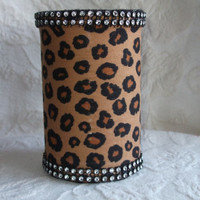 Brown and BLack Cheetah Print with RHinestones Make up Brush Holder