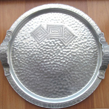 Vintage hammered aluminum serving tray with handles