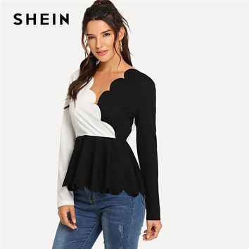 SHEIN Black And White Office Lady Elegant Zip Back Scallop Trim Long Sleeve Peplum Blouse Autumn Casual Women Tops And Blouses