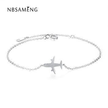 New Authentic 925 Sterling Silver Trendy Matte Aircraft Airplane Plane Travel Bracelets Women Pulserias Jewelry Gifts