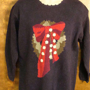 Fun Long Style 80s Christmas Sweater with Wreath and Bow