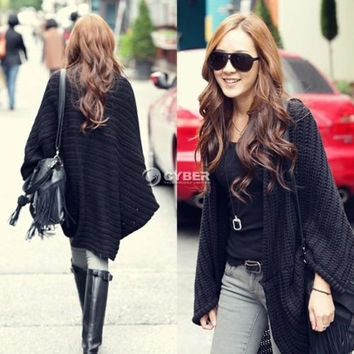 TrendyQueen-Batwing Top Poncho Women's Knit Cape Cardigan Long Sleeve Coat Knitwear Sweater