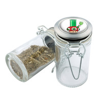 Glass Stash Jar - Mario Shroom Bong - 75ml Storage Container - Secret Stash Box for Custom Herb Grinder - Stay Fresh Herbs 1/6 oz.