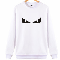 FENDI personality casual devil eyes autumn and winter warm hooded sweater White