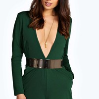 Aamie Deep Plunge Large Metal Belted Playsuit