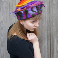 Unique felted hat with fancy tip and double brim, colorful, nuno felted of merino wool and wool curls , OOAK