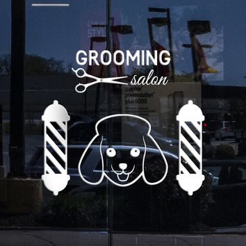Window Sign Vinyl Wall Decal Grooming Pet Dog Logo Beauty Salon Scissors Stickers (2181igw)