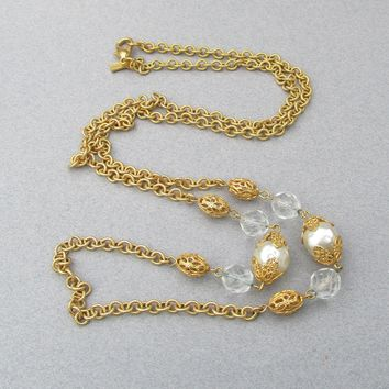 "NEW In Box 36"" Long Vintage Signed R.J. Graziano Crystal & Faux Baroque Pearl Chain Necklace"
