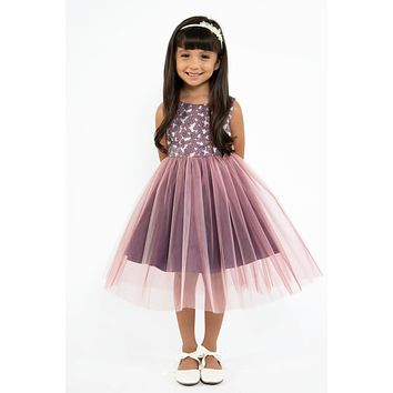 (Sale) Girls Size 18 Plus Mauve Jacquard Dress w. Rose Pink Tulle Skirt