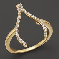 Khai Khai Diamond Wishbone Ring in 18K Yellow Gold, .2 ct. t.w.