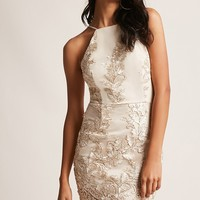 Beaded Metallic Bodycon Dress