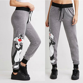 Gray Cartoon Printed Elastic Waist Loose Sporty Pants