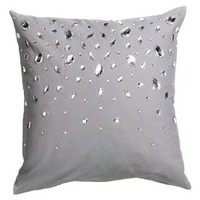 "Decorative Throw Pillow Cover Dew Drop Diamond 100% Cotton Rhinestone Accent Throw Pillow Cushion Cover 16 X 16"" (Gray)"