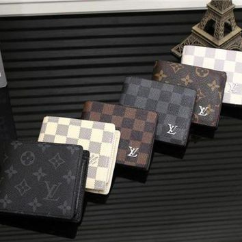 DCCK Louis Vuitton' Men Purse Fashion Tartan Retro Classic Letter Logo Print Short Section Multi-card Bit Fold Wallet