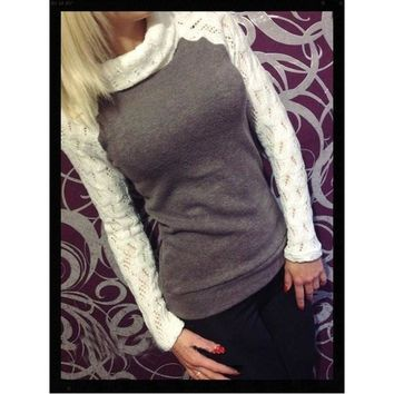 Fashion Women's Sweaters Lace High Neck [8389935297]