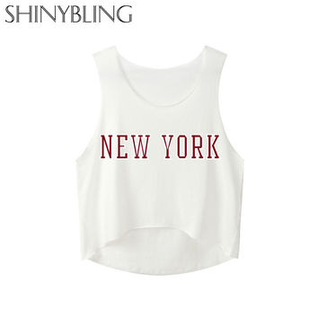 New York Cotton S-xl White Black Tank Irregular Tops for Girls Female Ladies Summer 2017 New Sexy Casual Street Look Sleeveless