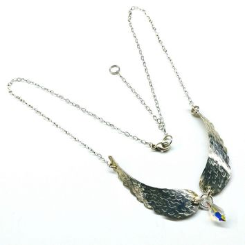 Crystal Drop Sterling Silver Angel Wing Necklace