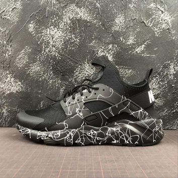 Nike Air Huarache Black White Camouflage Sport Running Shoes - Best Online Sale