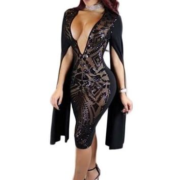 Deep V Neck Sequins Women's Sexy Dress