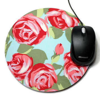Computer Mouse Pad mousepad / Mat - Round or rectangle - tumble roses - cubicle decor office desk gift