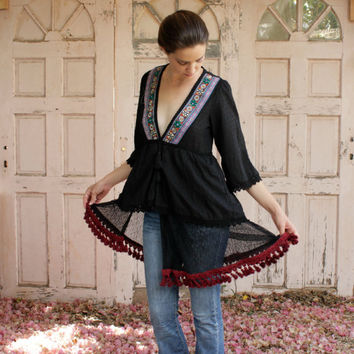 Unique Black Kaftan Blouse (galabiya) in Extra-Special Design - Ethnic Look with a Twist !