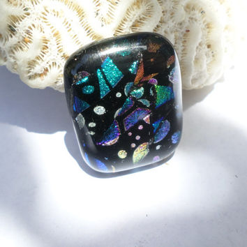 Purple Teal Magenta  Mosaic Glass Cabochon Cab Wire wrap PMC Updrade to Dichroic Pendant Available Mosaic Teal Fused Glass Pendant