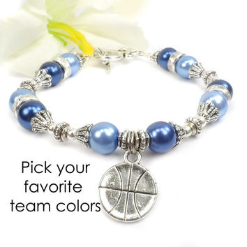 Basketball Team Color Bracelet: Cheerleader Jewelry, Basketball Mom Bracelet