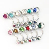 12 Pcs Lot Double Gem Curved Belly Dance Button Navel Ring Piercing
