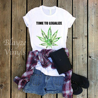 Time To Legalize Hemp Leaf (Hemp Leaf is patterned vinyl)/HTV design/Put in NOTE to SELLER what Ribbon Color you want.
