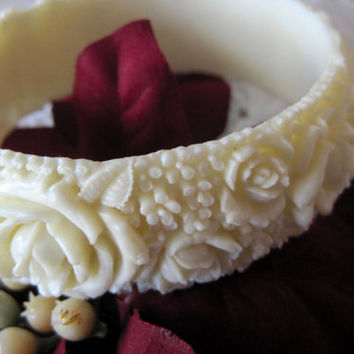 Vintage Carved White Plastic Bangle Bracelet