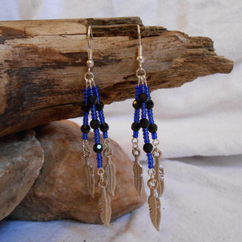 Seed Bead and Swarovski Crystal Earrings, Beautiful Blue and Black with Silver Feather Dangles, Handmade