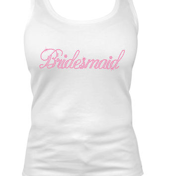 Bridesmaid tank top,  Rhinestone shirt,  bling tank top, bridesmaid gift,  bridesmaids gift,  bacholorette party shirt,  gift for her