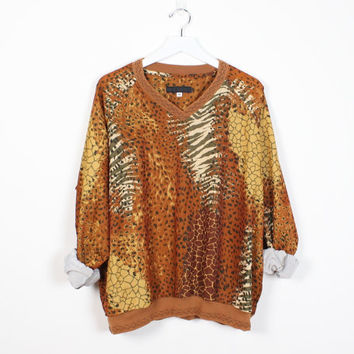 Vintage 80s Windbreaker Jacket Top New Wave Brown Gold Yellow Leopard Tiger Cat Print 1980s Slouchy Sporty Pullover Blouse L Extra Large XL