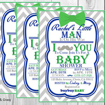 Lil Man Mustache Baby Shower Invitation