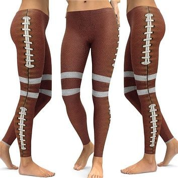 Womens Football Printed Yoga Fitness Leggings