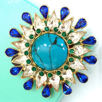 Round Starburst Brooch, Faux Turquoise Center, Sapphire Blue and Clear Pear Rhinestones, Emerald Green Chatons, Gold Tone Bezel Set, 1980s
