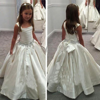 New Ivory Satin Flower Gril's dresses with Lace-up Back Beaded Birthday Girls Pageant Gowns First Communion Dresses for Girls