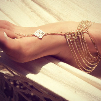 KATY ANKLET- gold chain foot anklet