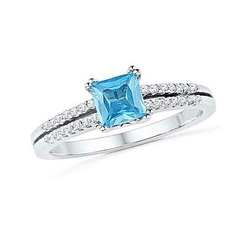 10kt White Gold Women's Princess Lab-Created Blue Topaz Solitaire Ring 5/8 Cttw - FREE Shipping (US/CAN)