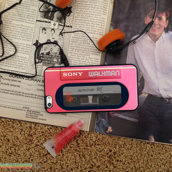 Retro 80's Pink Walkman, Custom Phone Case for iPhone 4/4s, 5/5s, 6/6s, 6/6s+ and iPod Touch 5