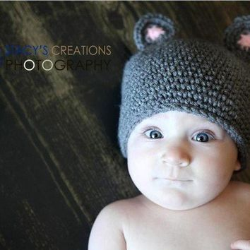Crochet Baby Hat Mouse Hat Animal Hat Newborn Hat by Monarchdancer