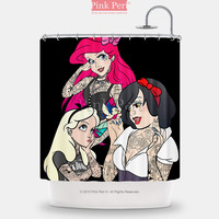 Tattooed Punk Disney Princess Shower Curtain Home & Living Bathroom 232