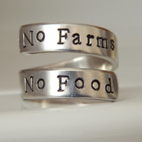 No Farms No Food  - Wrap Ring farmer's Inspired - Foodie Gift