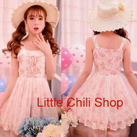 Fashion Princess Cute Kawaii Lolita Slim Sleeveless Floral Lace dress one-piece