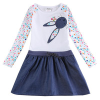Cute Bunny motif Kids Youth girls Summer style Dress kids clothes party outfit dinner